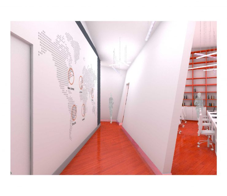 Corredor interior do Escritório DEVO Consulting por M-arq